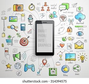 Smart Phone infographics -handdrawn style. Vector illustration.