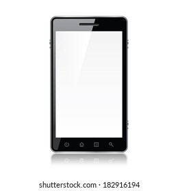 Smart phone isolated on white photo-realistic vector illustration