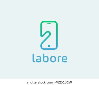 Smart phone linear logo symbol. Touch screen finger monitor mobile phone hand creative sign. Tablet PC, gadget idea vector logotype