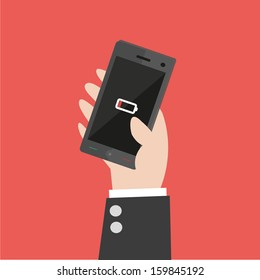 Smart Phone Low Battery  - vector