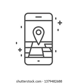 smart phone map app outline icon ,vector symbol