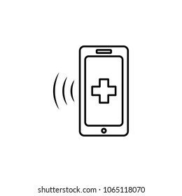 smart phone and medical cross icon. Element of medicine for mobile concept and web apps. Thin line  icon for website design and development, app development. Premium icon on white background