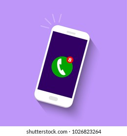 Smart phone with missed call symbol on the screen.  Vector illustration in flat style.
