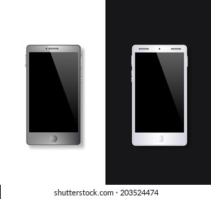 Smart phone, mobile phone isolated, realistic vector illustration