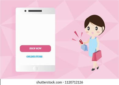 smart phone mobile mock up with copy space with woman carry shopping bags online shopping concept