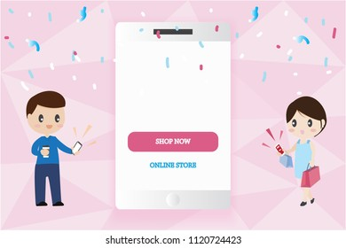 smart phone mobile mock up with copy space with man and woman couple lover carry shopping bags valentine big sale online shopping concept