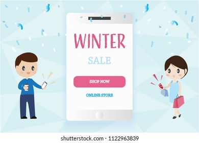 smart phone mobile mock up with copy space with man and woman couple lover carry shopping bags holiday christmas winter big sale online shopping concept