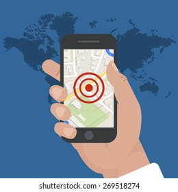 smart phone navigation - mobile gps and tracking concept: location track app on touchscreen smartphone, on world map background, falat style. vector illustrations