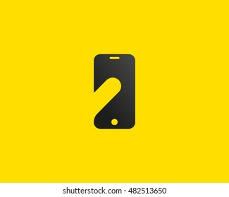 Smart phone negative space logo symbol. Touch screen finger monitor mobile phone hand creative sign. Tablet PC, gadget idea vector logotype