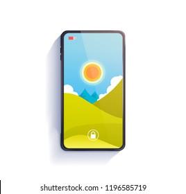 Smart phone on table. Vector illustration.