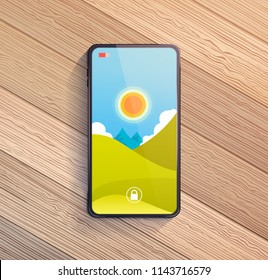 Smart phone on wooden table. Vector illustration.