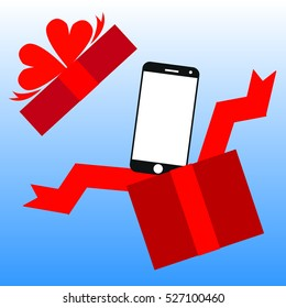 smart phone in opened red gift box
