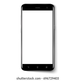 Smart phone. Realistic mobile phone smart phone with blank screen isolated on background. Vector illustration for printing and web element.