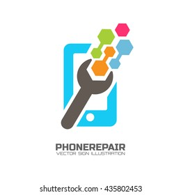 Smart phone repair logo concept. Good for electronic shops, mobile phones repair services.