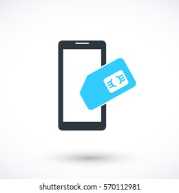 Smart phone with SIM card vector icon. Graphic symbol for web design, logo. Isolated sign on a white background.