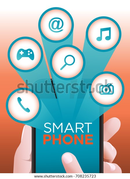 Smart Phone Social Media Concept Hand Stock Vector (Royalty Free