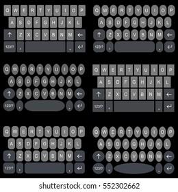 Smart Phone / Tablet Keyboard Template. Flat Design Vector Illustration