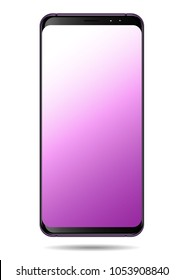 Smart phone vector purple pastel screen illustration isolated on white background