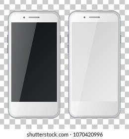 Smart phones with black and blank screens isolated on transparent background. Vector illustration.
