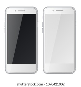 Smart phones with black and blank screens isolated on white background. Vector illustration.