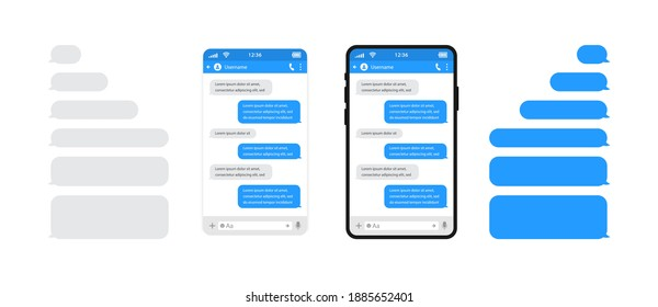Smart phones chatting sms template bubbles. Chat templates, message, phones and speech bubbles blue colour in flat style. Social media design concept. Sms template bubbles for compose dialogues.