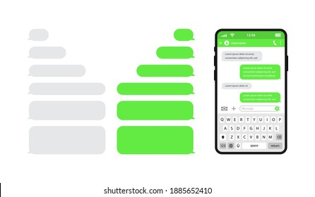 Smart phones chatting sms template bubbles. Chat templates, message, phone with keyboard and speech bubbles green colour in flat style. Social media design concept. Vector illustration