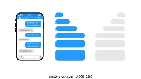 Smart phones chatting sms template bubbles. Chat templates, message, phone and speech bubbles blue colour in flat style. Social media design concept. Vector illustration