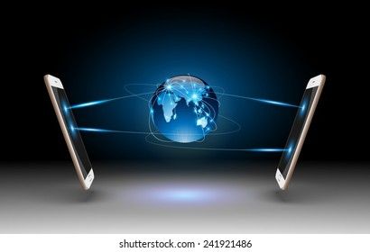 Smart Phones and Globe Connections Design.vector