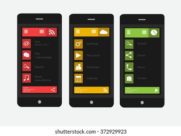 Smart phones interface vector material design