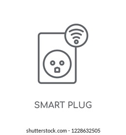 smart Plug linear icon. Modern outline smart Plug logo concept on white background from Smarthome collection. Suitable for use on web apps, mobile apps and print media.