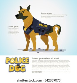 smart police dog in uniform. character design come with typographic  - vector illustration