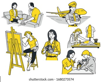 Smart and powerful women concept. Various women in different jobs and occupations like female pilot, fashion designer, artist, psychiatrist, veterinarian, photographer. Linear, thin line art.