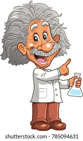 Smart professor genius scientist chemistry teacher with beaker pointing cartoon clipart vector