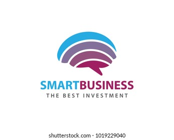 smart rainbow colorful brain advanced technology vector logo design for smart business, intelligence research, smart application, advance technology and more