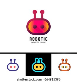 Smart robot logo template. Cute logotype isolated on white background. Future technologies theme. Vector concept symbol.