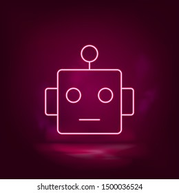 Smart, robot neon icon - vector. Artificial intelligence.