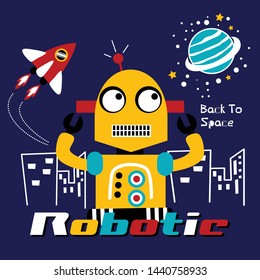smart robotic back to space funny cartoon,vector illustration