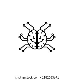 Smart robotic brain icon. Element of artificial intelligence icon for mobile concept and web apps. Thin line Smart robotic brain icon can be used for web and mobile on white background