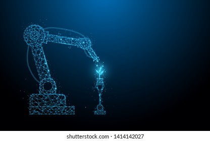 Smart robotic farmers technology. Robot spray chemical. lines, triangles and particle style design. Illustration vector
