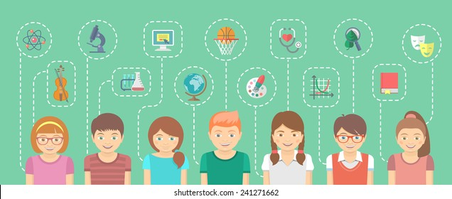 Smart school kids group, boys and girls with icons of  different interests. Genius children. Vector cartoon flat illustration. Educational infographics element. Clever kids. School for gifted children