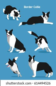 smart shepherd dog pet animal various acting vector flat design illustration