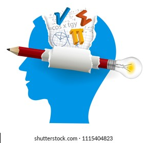 Smart solutions, Student of mathematics.  Stylized Male Head silhouette with mathematics symbols and pencil with bulb. Isolated on white background. Vector available.