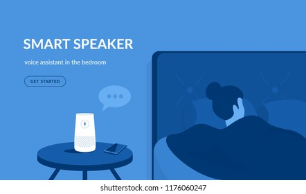 Smart speaker in the bedroom. Flat vector illustration of woman sleeping in the bed asking something the white home smart speaker with integrated virtual assistant. Blue concept design with copy space