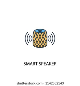 smart speaker concept 2 colored line icon. Simple yellow and blue element illustration. smart speaker concept outline symbol design from Smart Home set