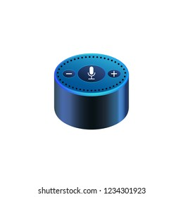 Smart speaker for smart home control with icons. Voice control gadget of your house. Intelligent voice activated assistant. Isolated object. Vector
