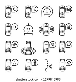 Smart speaker icon, communication thin art set. Wireless smart audio playback device, digital assistant collection. Vector line signs column illustration