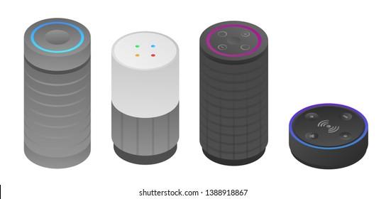 Smart speaker icons set. Isometric set of smart speaker vector icons for web design isolated on white background