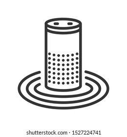 Smart speaker line black icon. Personal voice assistance and controls the Internet of things. Sign for web page, mobile app, button, logo. Vector isolated button. Editable stroke.