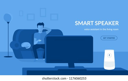 Smart speaker in the living room. Flat vector illustration of man watching tv connected to white home smart speaker with integrated virtual assistant. Blue concept design with copy space