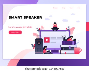 Smart speaker, student with laptop sitting on books. Artificial intelligence, virtual assistant, distance education concept. Ultraviolet landing page template with small people on the desktop.